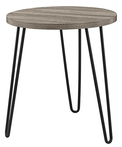 Metal Retro Round Table - Ameriwood Home 3613307COM Owen Retro End Table, Weathered Oak