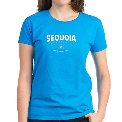 CafePress Sequoia National Park (Arch) Women's Dark T Shirt Womens Cotton T-Shirt Caribbean Blue