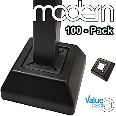 """Modern Flat Shoes for 1/2"""" Iron Balusters (100-Pack) Stair Railing Parts for Square Metal Scroll Basket Twist Knuckle Spindles NO Set Screw (Real Satin Black NOT Matte)"""