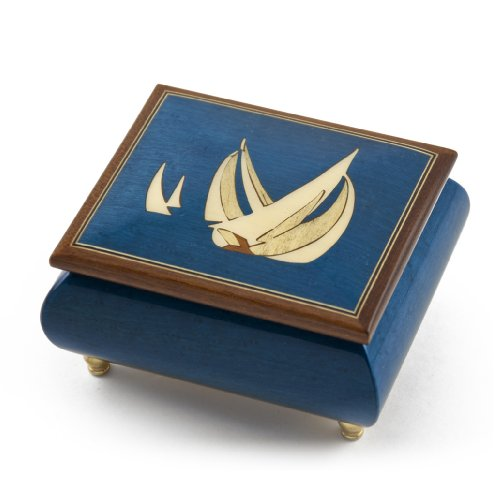 - Vibrant Blue Sailboat Handcrafted Italian Music Box - Ma'oz Tzur, Rock of Ages (Jewish Version)