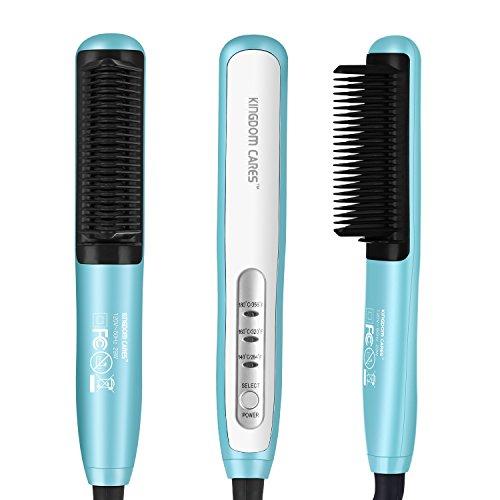 KINGDOMCARES Hair Straightener Brush, PTC Faster Heating Straightening Brush Styler At Home Blue ()