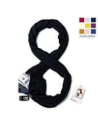 Infinity Scarf Travel Scarf with Pockets - Hidden Zipper Pocket Scarf Black