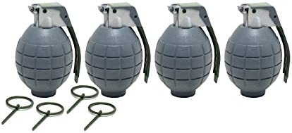 Lot of 4 GRAY Kids Toy B//o Hand Grenades for Pretend Play Combat Force