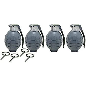 Lot of 4 GRAY Kids Toy B/o Hand Grenades for Pretend Play