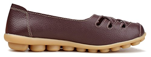 hollow Women's Kunsto Shoes Slip Coffee Out Leather On Loafer vUnAxz0n