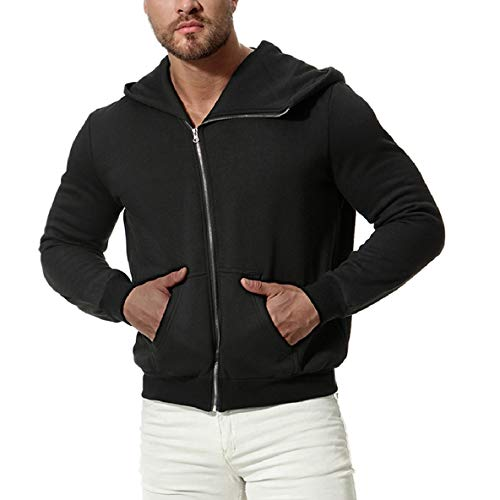 Zips Black Thickening Sleeves Men's Hooded with XINHEO Solid Long Bomber Jacket qvOxw