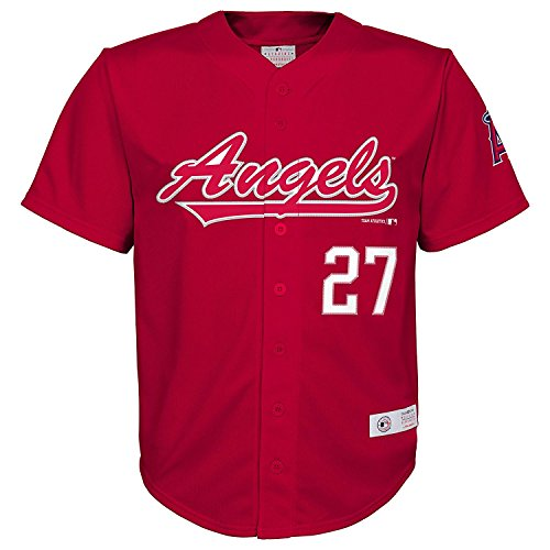 OuterStuff Mike Trout Los Angeles Angels Red #27 Youth Player Fashion Jersey (Large 12/14)