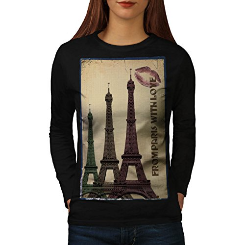 Turret Urban Eiffel Paris Women M Long Sleeve T-shirt | Wellcoda