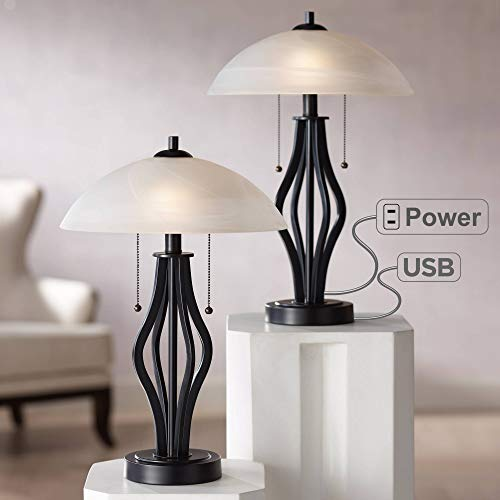 Heather Modern Accent Table Lamps Set of 2 with USB Port and AC Power Outlet in Base Dark Metal Base Glass Dome Shade for Living Room Bedroom Bedside Office - -