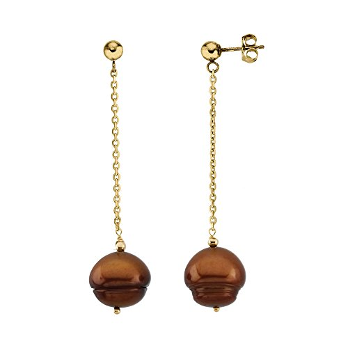 14K Yellow Gold 9-11mm Freshwater Cultured Dyed Chocolate Pearl Earrings (Chocolate 10 Dyed Mm)
