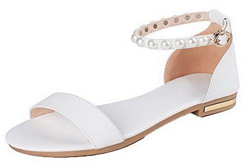 Talon d'orteil Bas Couleur GMBLA012752 Unie Femme AgooLar Blanc Cuir Sandales à PU Ouverture PqTPZIwFY