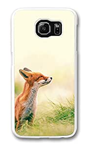 VUTTOO Rugged Samsung Galaxy S6 Edge Case, Fox Scenting Breeze PC Case Cover for Samsung Galaxy S6 Edge White