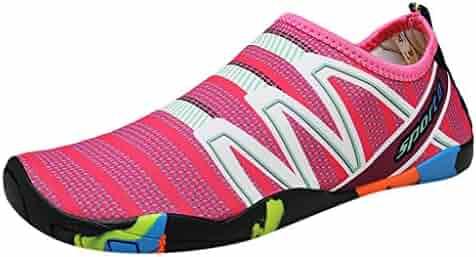 a2bc4549b0fa2 Water Shoes for Men Women Barefoot Stripes Beach Shoes Quick-Dry Aqua Shoes  Swim Shoes