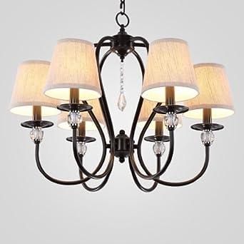 JJ Moderne LED Decke Lampe 6 Kopf LED Deckenleuchte Mit Bettwäsche Schatten  Retro Industrial