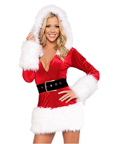 HOT Women Santa Costume Adult Miss Mrs Claus Cosplay Christmas Fancy Dress -