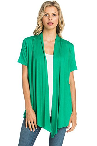 (12 Ami Basic Solid Short Sleeve Open Front Cardigan Green Extra Large)