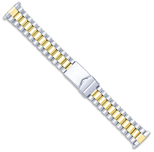 President Link Style Metal Watch Band - Two Tone - (fits 18mm to 22mm) -