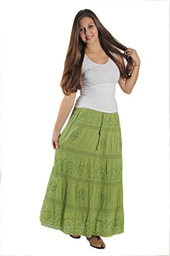 KayJayStyles Full Length Womens Solid Embroidered Gypsy Bohemian Long Cotton Skirt (Lime) Photo #2