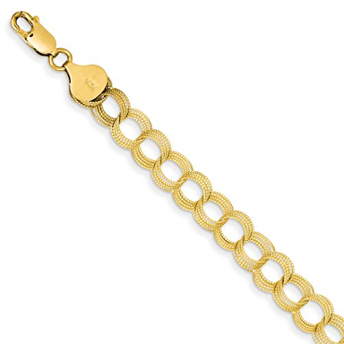 ICE CARATS 14kt Yellow Gold Solid Triple Link Charm Bracelet 7 Inch Fine Jewelry Ideal Gifts For Women Gift Set From (14k Mom Charm Bracelet)
