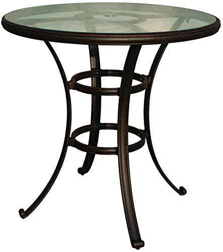 Darlee Cast Aluminum Glass Top Round Bar Table, 42'', Antique Bronze Finish by Darlee