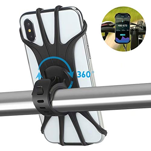 AONKEY Universal Bike Phone Mount, Silicone Holder Adjustable for Bicycle Handlebar fits iPhone Xs Max/XS XR X/6S/7/8 Plus, Galaxy S10+/S10/S10e/S9+/S9/S8, 4.0