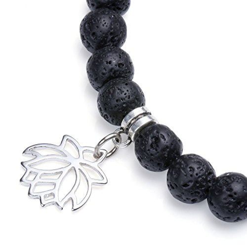 Top Plaza Men Women Lava Rock Stone 7 Chakra Bracelet Black Healing Crystal Gemtone Beads Yoga Meditation Bracelet W/Tree of Life/OM/Lutos Charm