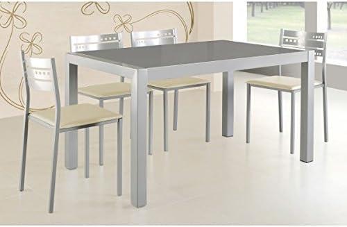SHIITO Mesa de Cocina Fija 132x80 cm en Aluminio y Tapa Cristal ...