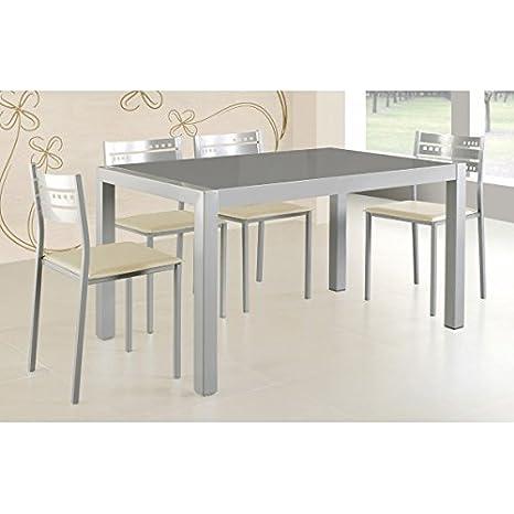SHIITO Mesa de Cocina Fija 132x80 cm en Aluminio y Tapa ...
