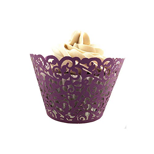 50Pcs Filigree Artistic Hollow Out Bake Cake Paper Cups Little Vine Lace Laser Cut Liner Cupcake Wrappers Baking Cup Muffin Holder Case for Wedding/Birthday/Afternoon Tea Party Decoration (Purple)