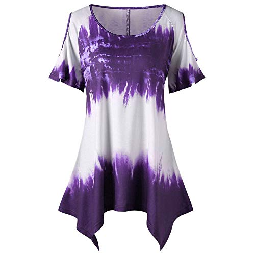 YOcheerful Fashion Womens Blouses Plus Size O-Neck Tops Short Sleeve Printed Open Shoulder T-Shirt Purple