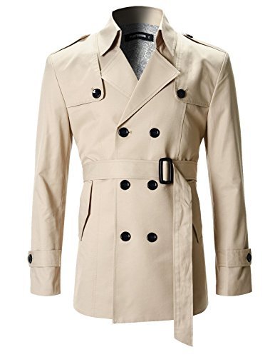 FLATSEVEN Mens Slim Fit Designer Casual Trench Coat (CT201) Beige, XL