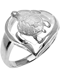 Sterling Silver Turtle Heart Ring