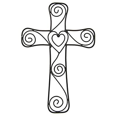 "Large Black Metal Heart and Swirls Cross Home Wall Decor 15"" x 10"" - Beautiful Metal Wall Cross with a Heart in the Center Measures 15"" Tall by 10"" across This unique cross will add elegance to the wall of your favorite room - living-room-decor, living-room, home-decor - 415sG7HDrLL. SS400  -"