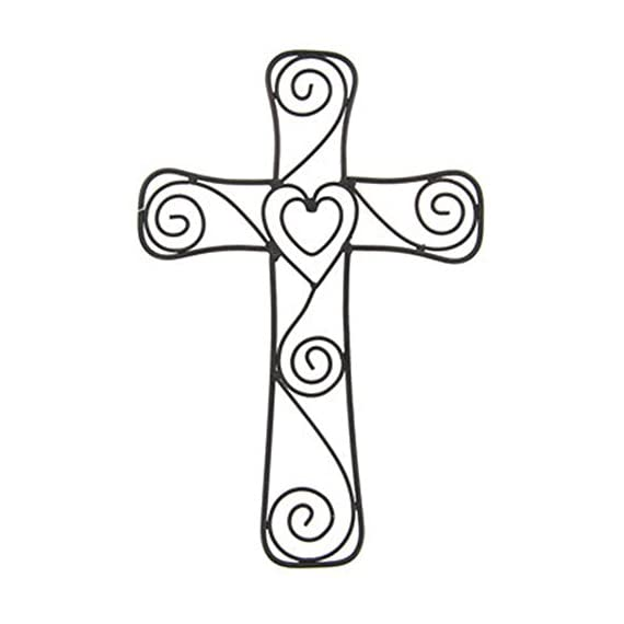 "Large Black Metal Heart and Swirls Cross Home Wall Decor 15"" x 10"" - Beautiful Metal Wall Cross with a Heart in the Center Measures 15"" Tall by 10"" across This unique cross will add elegance to the wall of your favorite room - living-room-decor, living-room, home-decor - 415sG7HDrLL. SS570  -"