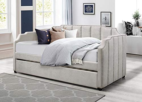 Twin Daybed Including Trundle - Grey/Velvet