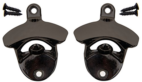TWO PACK - Wall Mounted Black Nickel Gun Metal Finish Beer and Soda Bottle Opener, Free Mounting Hardware Included, Quick Installation, Easy to Surface Mount