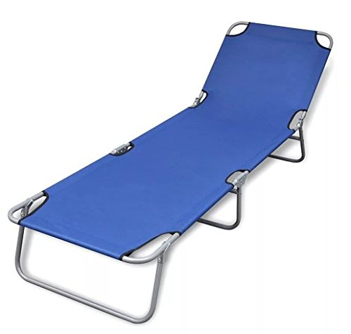 Foldable Sunlounger with Adjustable Backrest Blue Home Outdoor SKB Family by SKB family