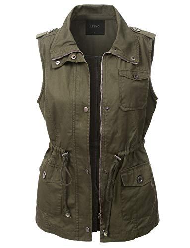 LE3NO Womens Utilitarian Green Anorak Vest,L3nwv2834_olive,Medium