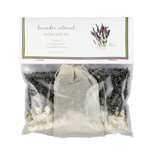 Lavender Oatmeal Bath Tea with Sample Soap – Relaxing, All Natural, Herbal Tub Tea 3-packs to Heal, Soothe, Soak and Recover