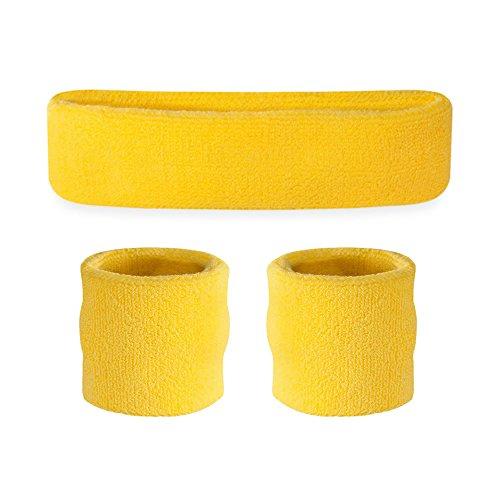 Suddora Kids Sweatband Set (1 Headband / 2 Wristbands) (Neon Yellow)