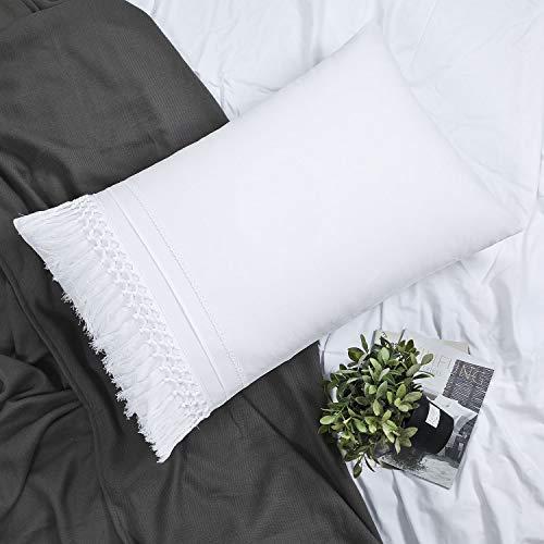 YINFUNG Boho Pillow Shams Standard White Macrame Tassel Pillowcase Set of 2 Fringe Crochet Cute Elegant Pretty 100% Cotton Romantic 20x26 Pillow Cover