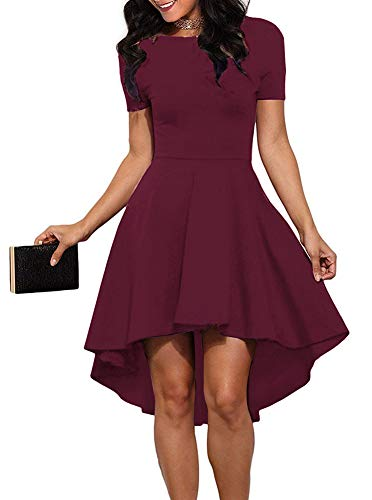 ReoRia Women Womens Scoop Neck Short Sleeve High Low Cocktail Party Skater Dress Burgandy ()