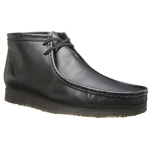 CLARKS Originals Mens Wallabee Black Leather Boots 9 US (Boot Originals Clarks Wallabee)
