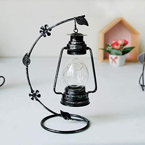 S-World-4Home - Moroccan Decor Antique Iron Candlestick Household Decor Night Light Figurines Lucky Glass Jar Crystal Lamp Tower Desktop -