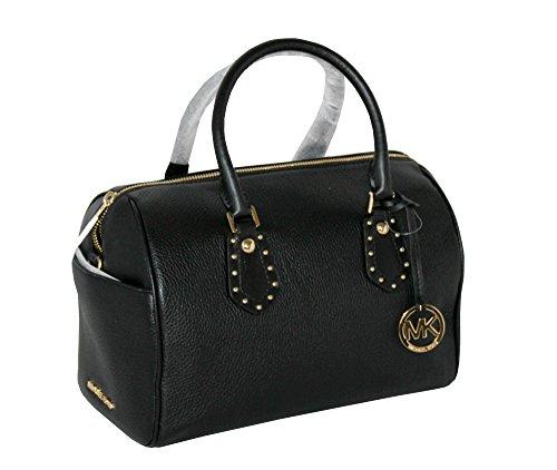 MICHAEL Michael Kors Women's ARIA MEDIUM Leather Satchel Studded Handbag (Black)