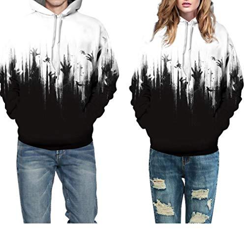 Halloween Costume Women Men Scary Skeleton Blood 3D Print Hoodie Sweatshirt Top(F,S/M) for $<!--$9.91-->