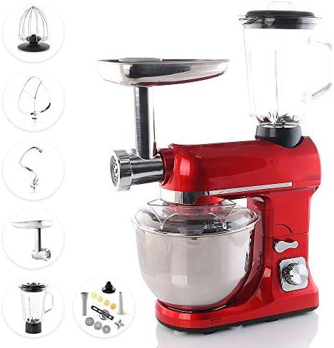 Smak, robot da cucina da 5 litri, con accessori, impastatrice, tritatutto per carne, robot da cucina universale multifunzione, frullatore, in acciaio inox, mixer, professionale per cucina