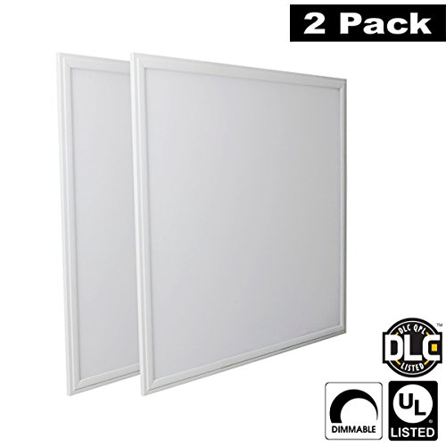 7 Flat Panel (Luxrite LR24051 (2-Pack) 45W 2x2 FT LED Panel, Dimmable, Natural White 3500K, 3900 Lumens, 24x24 Inch, UL-Listed, DLC-Listed (Eligible for Rebate)