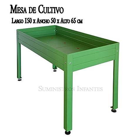 MESA DE CULTIVO Lacada verde. Medidas: Largo 150cm x Ancho 50cm x Alto 65cm