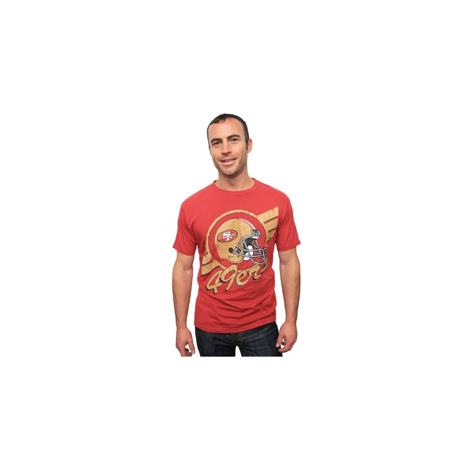 NFL San Francisco 49ers Vintage Crackle Short Sleeve Crew Tee (Radish, Red) Mens